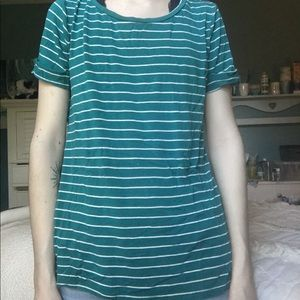 XS/S teal and white striped shirt.